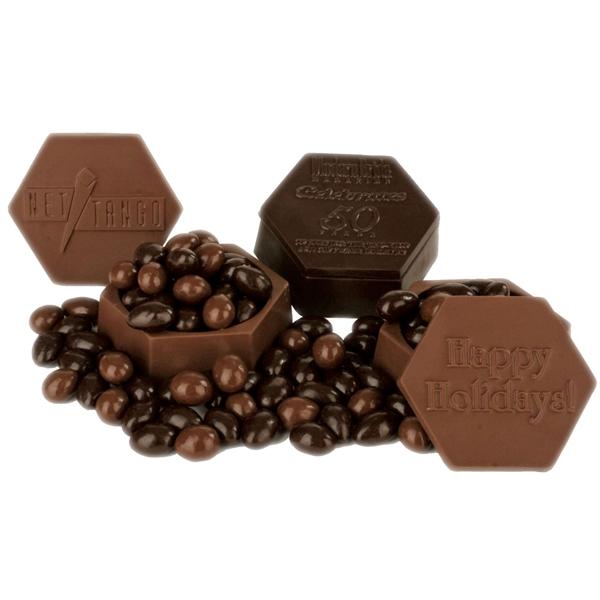 Edible Hexagonal Chocolate Box, w/ Chocolate Covered Almonds