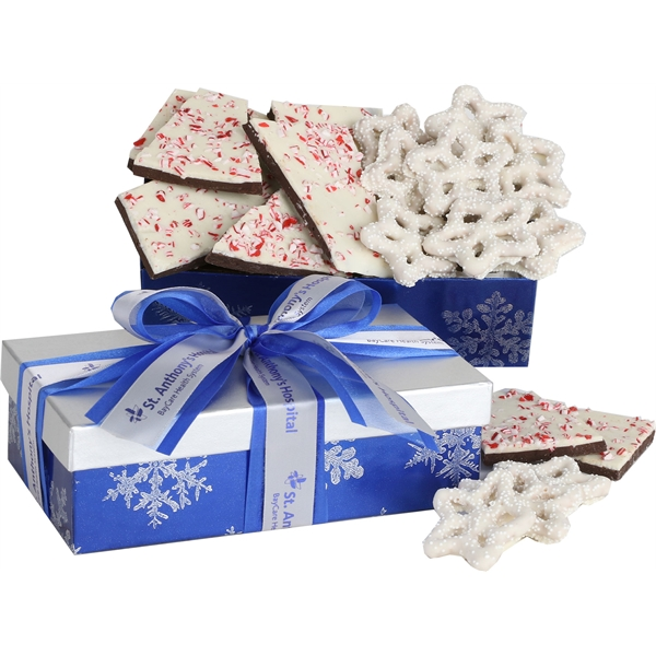 Chocolate Peppermint Bark and Snowflake Pretzels in Gift Box