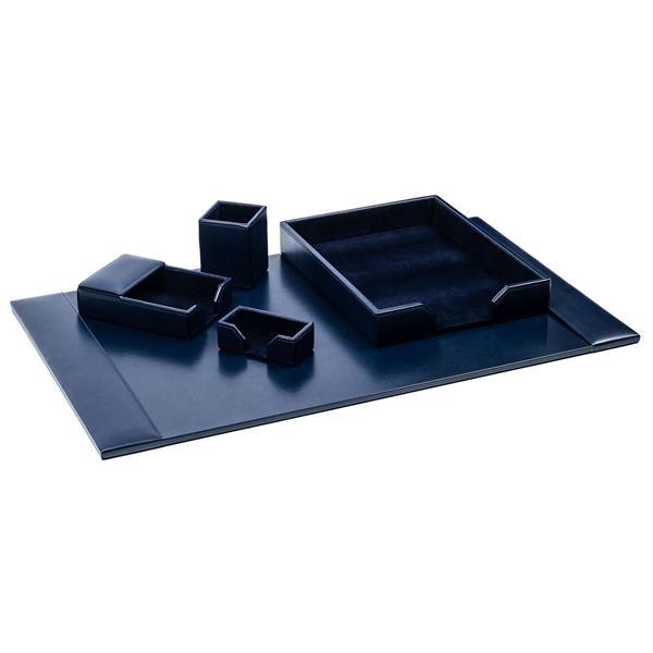 Navy Blue 5-Piece Econo-Line Leather Desk Set