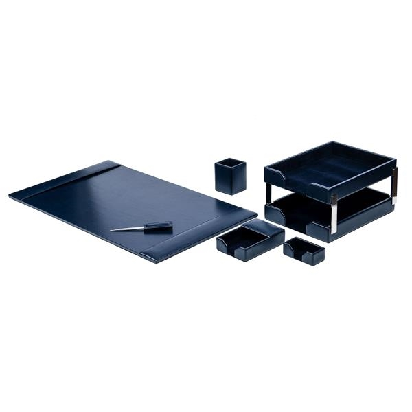Navy Blue 8 Piece Econo-Line Leather Desk Set