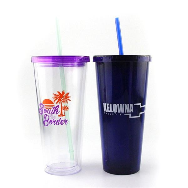 20oz. Double Wall Acrylic Tumblers with Straw