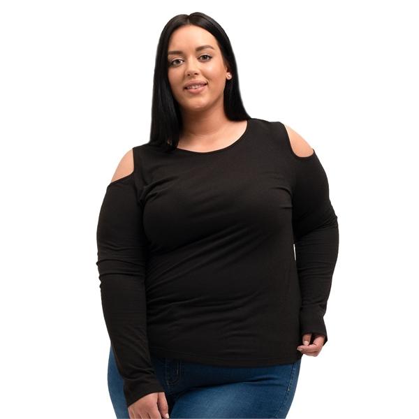 Boxercraft Women's Plus Size Cold Shoulder Long Sleeve T-...