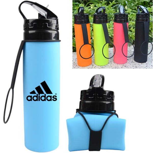Hydrate Silicone Collapsible Sports Water Bottle  20 Oz