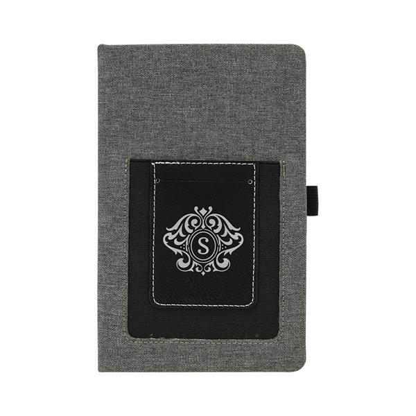 Gray w/Black Leatherette Journal with Cell/Card Slot