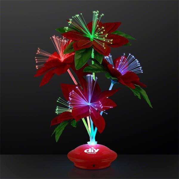 Red Christmas Flowers Light Up Centerpiece