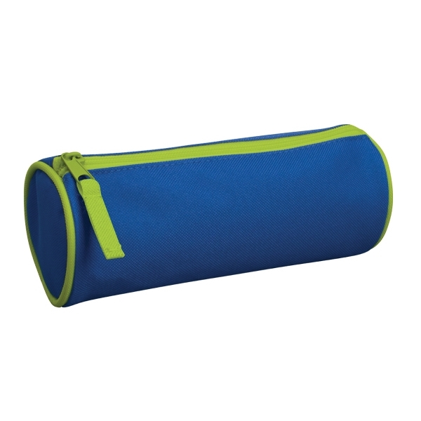 Barrel Vanity Case - Durable polyester barrel vanity case with a zippered closure.