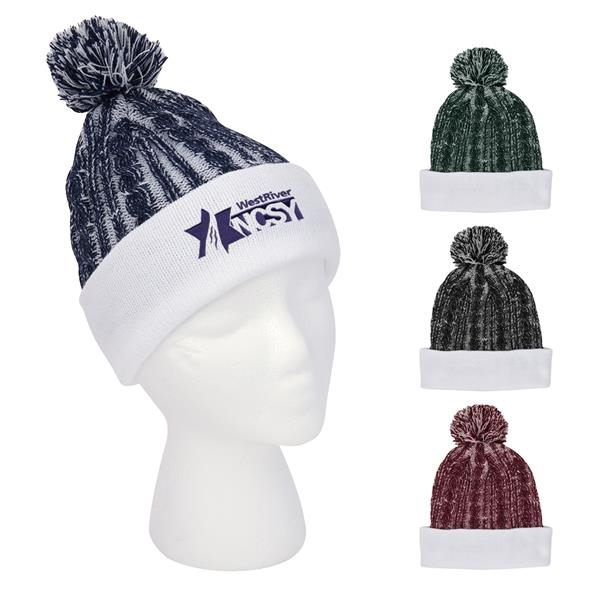 Casey Cable Knit Pom Beanie With Cuff