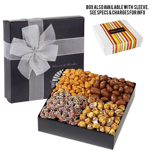 Gift Box with Nuts, Popcorn and Pretzels