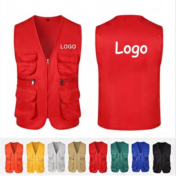Multi Pockets Vest Advertising Volunteer Work Waistcoat