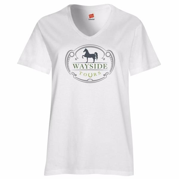 Hanes® Women's Relaxed Fit Jersey Tagless V-neck T-Shirt