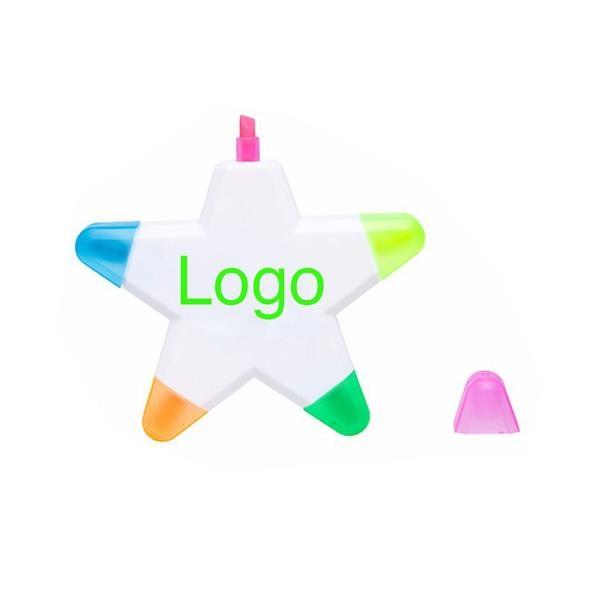 5 Colors in 1 Creative Pentagram Plastic Highlighter Marker