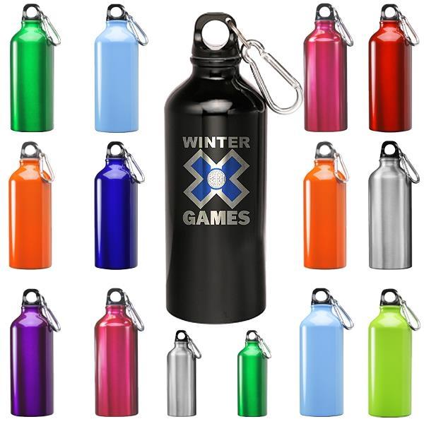 Sporty Aluminum Water Bottle w/ Carabiner 20 oz Bottles