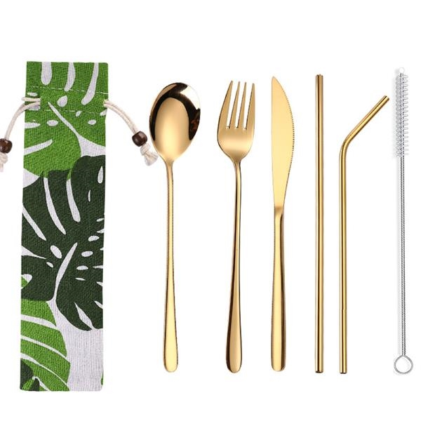 Stainless Steel Tableware with Fabric Pouch