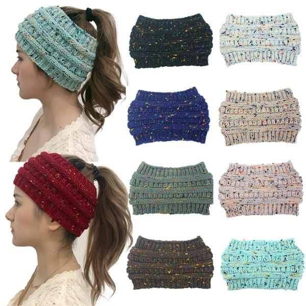 Winter Knitted Horsetail Hat Beanies