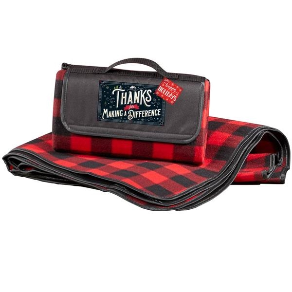 Thanks For Making A Difference Buffalo Plaid Fleece Blanket