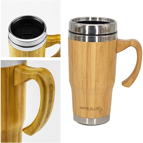 14 OZ Stainless Steel Bamboo Tumbler with Handle
