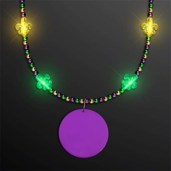 Light Up Fleur de Lis Jewelry, Mardi Gras Medallion