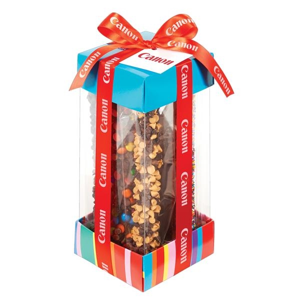 Treat Container with Candy Coated Chocolate Pretzel Rods