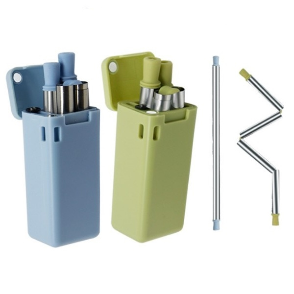 Foldable Straw Made of Silicone and 304 Stainless Steel