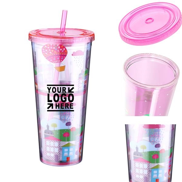 16oz Double Wall Tumbler Cups with Lids and Straws