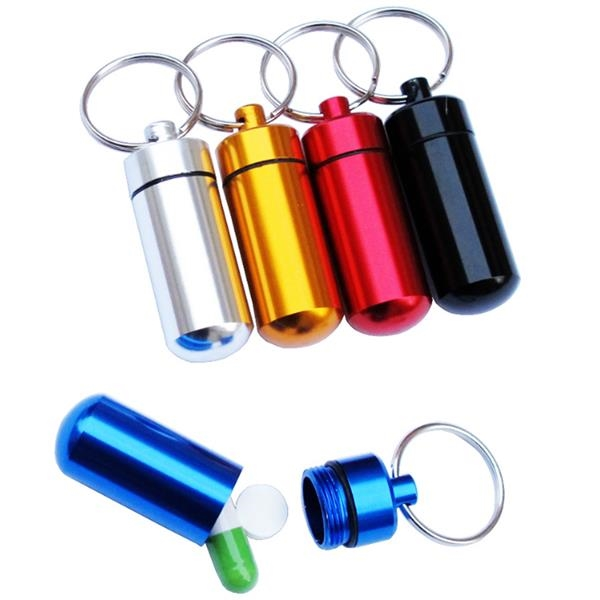 Capsule Shape Portable Aluminum Pill Box with Keychain