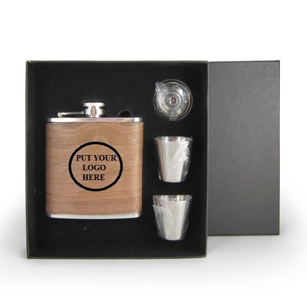 Stainless Steel Hip Flask Gift Set 6oz