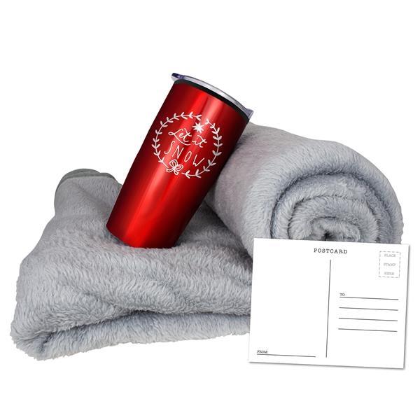 Coral Fleece Blanket and Tumbler Combo Set