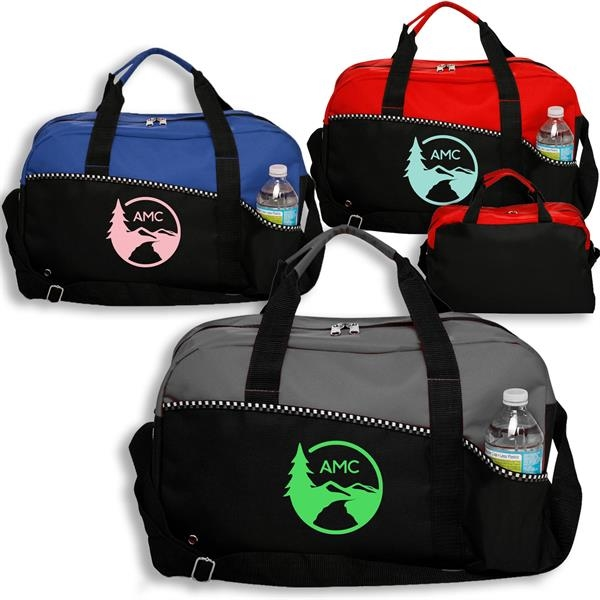 Two Tone Zippered Duffel Bag w/ Shoulder Strap