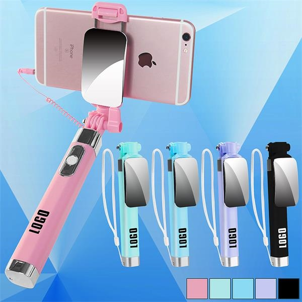 Foldable Wired Selfie Stick w/ Mirror an