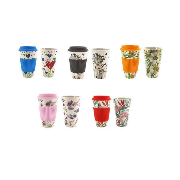 Reusbale Coffee Mug Cup with Silicone Lid & Sleeve