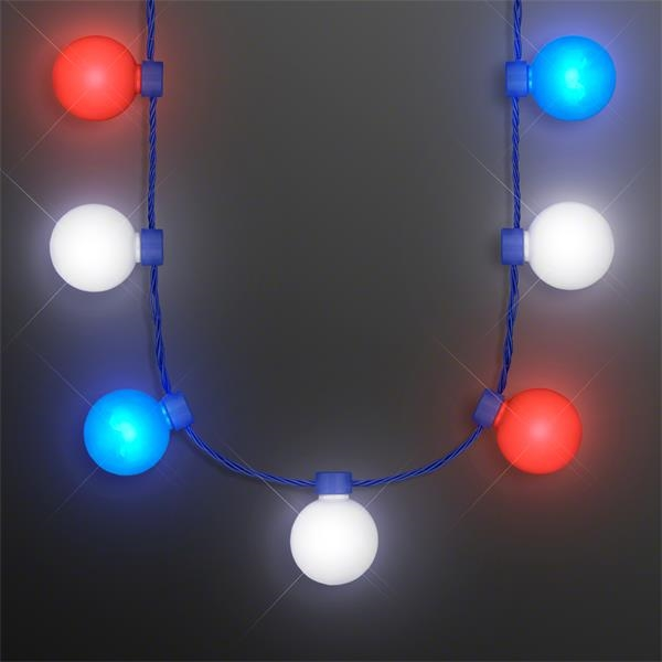 Red White & Blue Light Globes Necklace