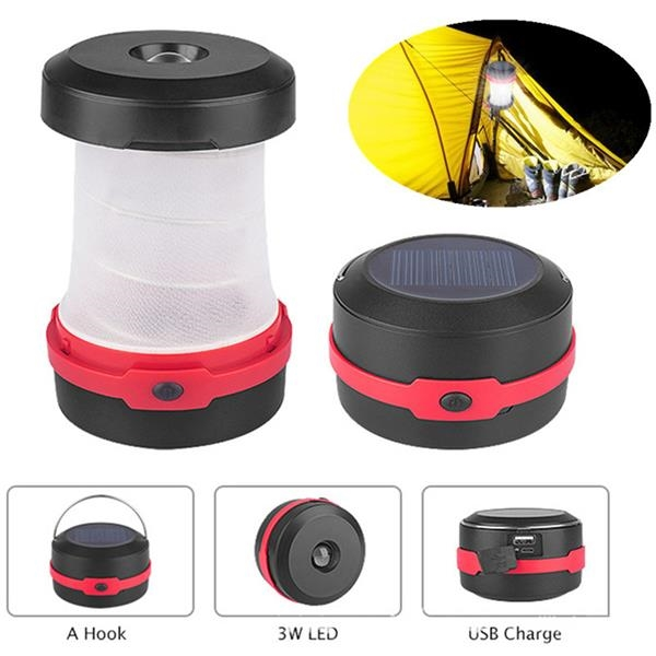 Retractable Solar Panel LED Camping Lamp