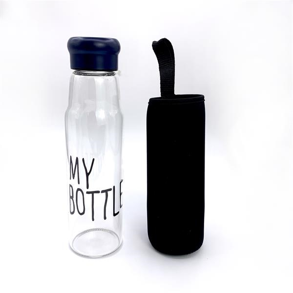 Glass water Bottle glassware with neoprene sleeve