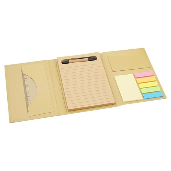 Multifunctional notebook with pen and ruler