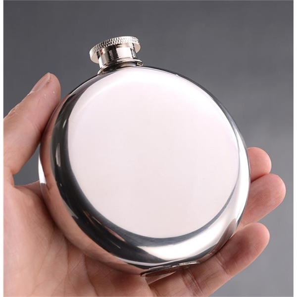 Round Stainless Steel Circular Hip Flask