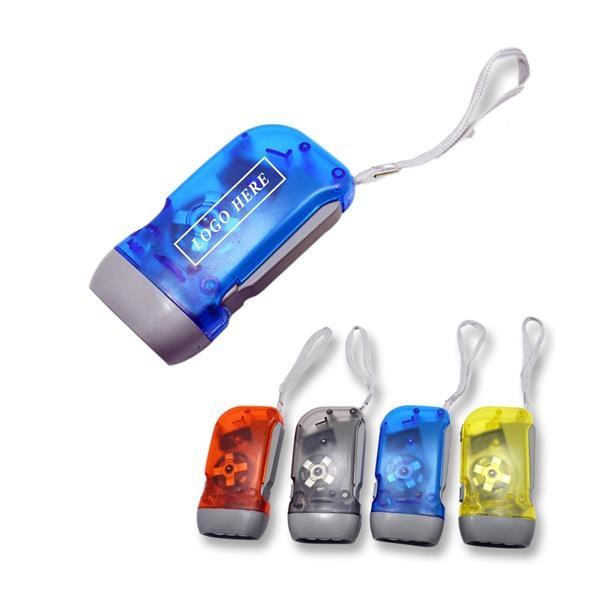 LED Hand Press Crank Dynamo Flashlight Torch