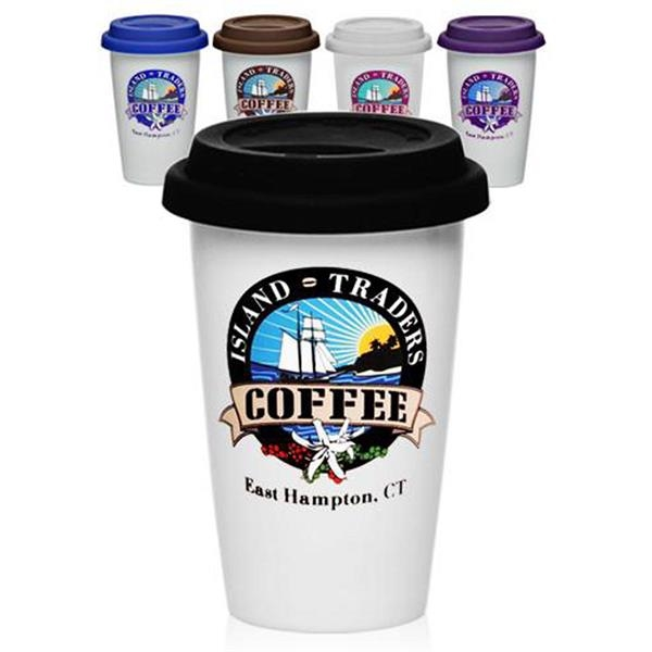 11 Oz. Double Wall Ceramic Tumblers With Lid