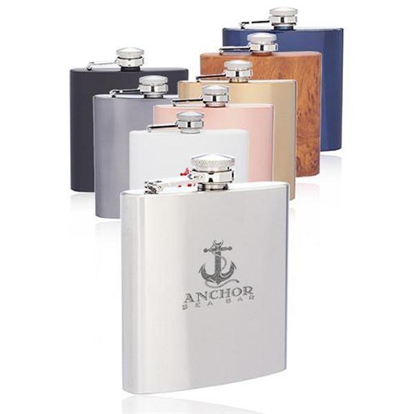 6 Oz. Murano Stainless Steel Hip Flasks