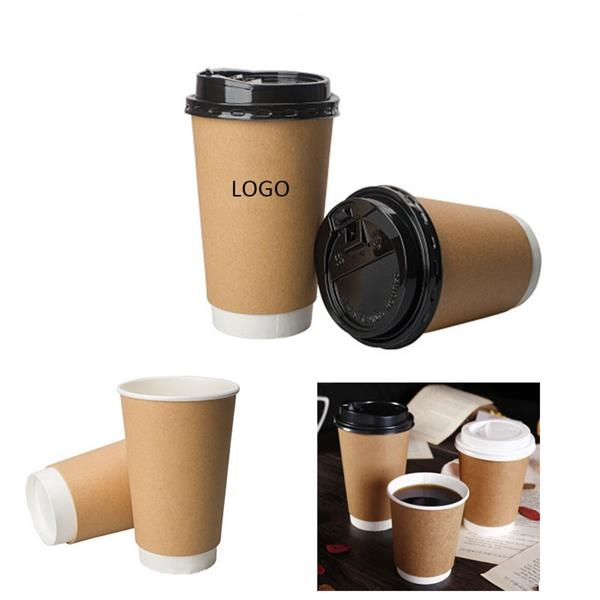 16 Oz Double Wall Disposable Coffeee Cups with Lids