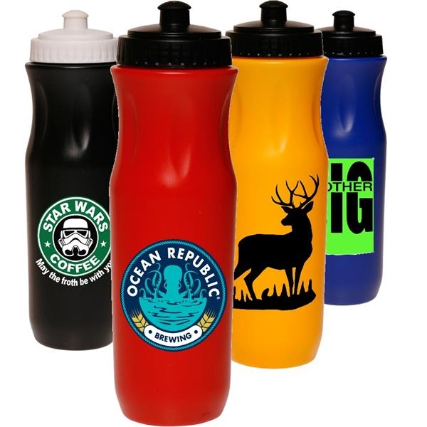 Sports Water Bottle w Push Top Lid 26 oz. Plastic Bottles