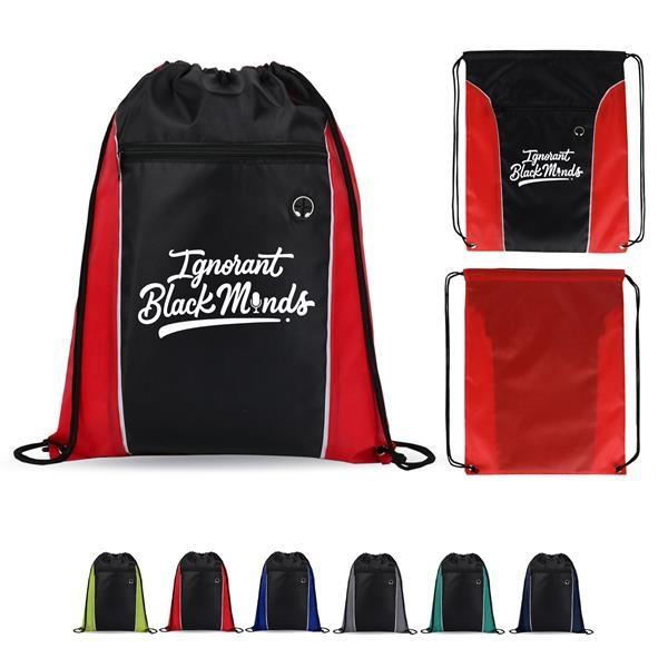 Vertical Side Color Drawstring Backpack