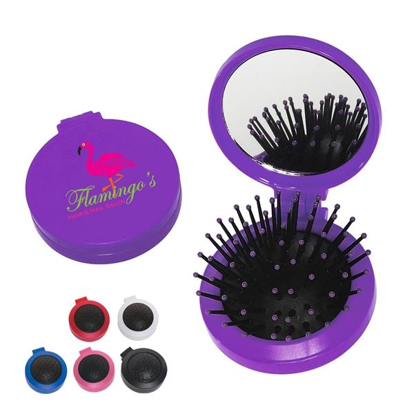 Brush And Mirror Compact - Two in one kit, features a brush and shatter resistant mirror.