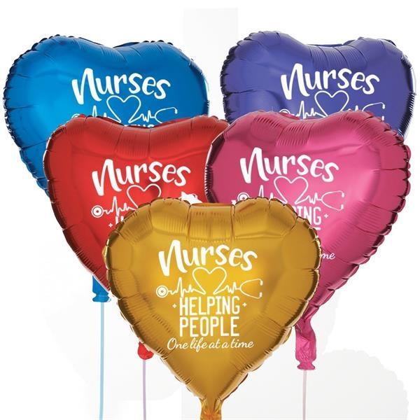 Nurses Heart Shaped Foil Celebration Balloons