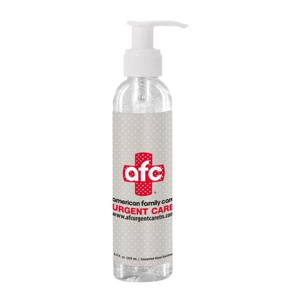 8 oz Clear Sanitizer in Clear Bottle with Pump