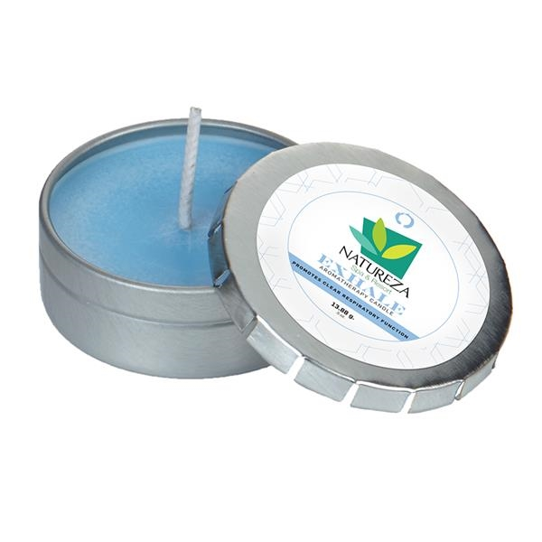 Custom Aromatherapy Candle in Small Silver Push Tin