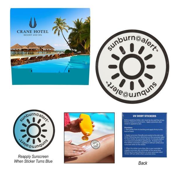 Sunburn Alert Circle Sticker With Custom Pack