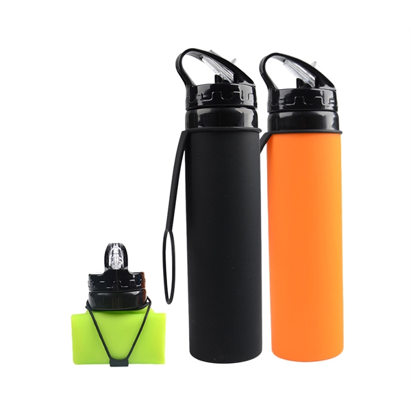Foldable Silicone Water Bottle, 20 oz.