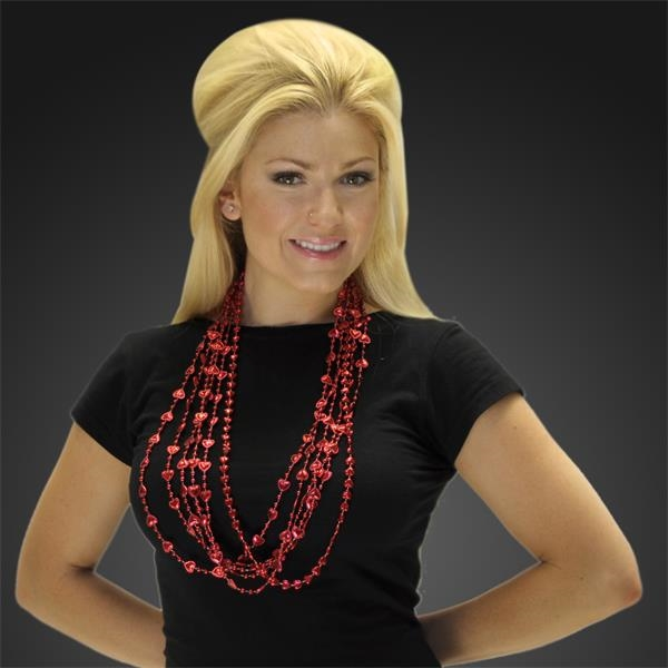 Red heart Mardi Gras beads