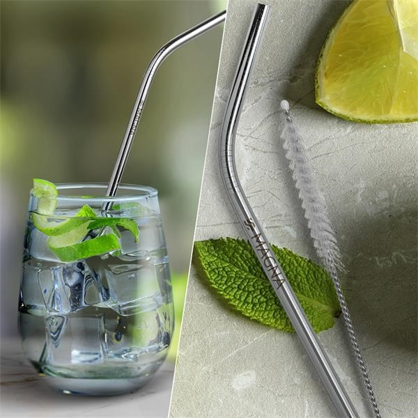 Silver Bent Stainless Steel Straw qty 1