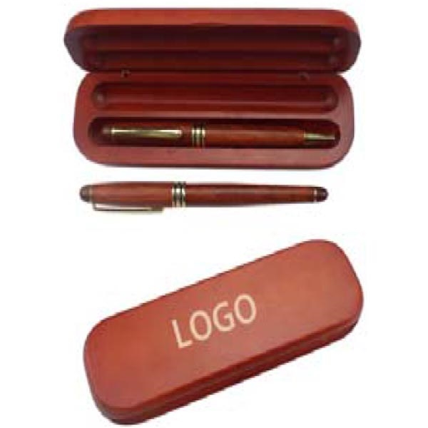 Wooden Pen Set with Wooden Case